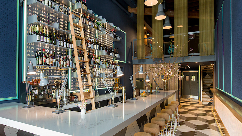 Anglepoise restaurant lighting - bar view